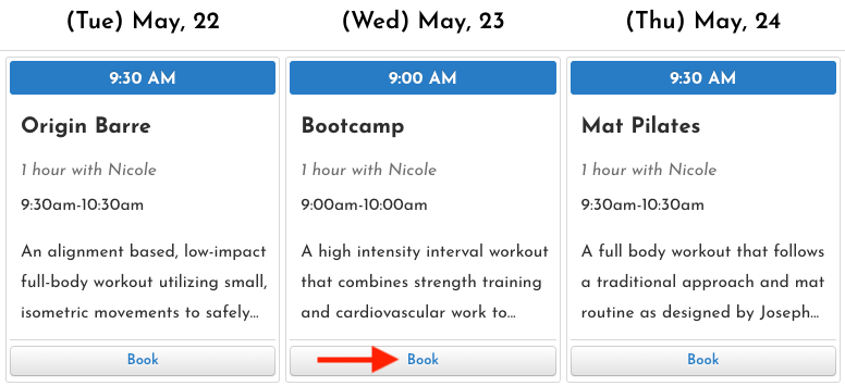 Screenshot of origin fitness online class schedule