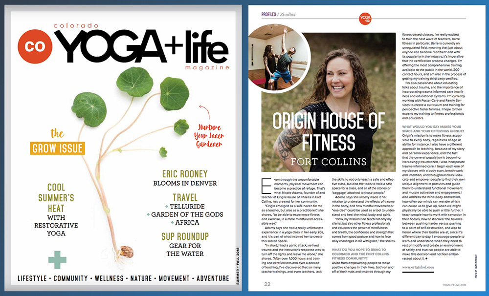 Origin Fitness featured on Colorado Yoga+Life Magazine summer 2018 issue page 22 and cover