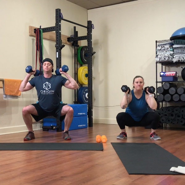 origin house of fitness online class 30 min full-body workout thrusters